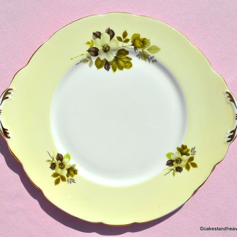 Royal Stafford Cream Tea Butter Yellow and Olive Green Floral China Teacup
