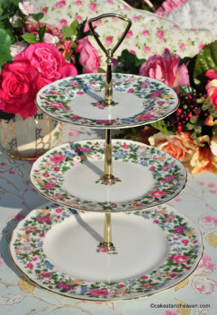 Crown Staffordshire Thousand Flowers Vintage 3 Tier Cake Stand with Brass Fittings c.1930s