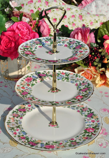 Crown Staffordshire Thousand Flowers Pattern Vintage 3 Tier Cake Stand with