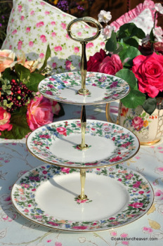 Crown Staffordshire Thousand Flowers Pattern Vintage 3 Tier Cake Stand c.1930s