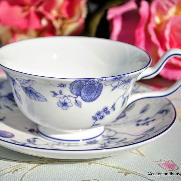 Wedgwood Blue Plum Bone China Wide Teacup and Saucer c.1995