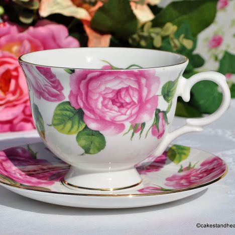 Royal Grafton Bold Pink Roses Fine Bone China Footed Teacup and Saucer