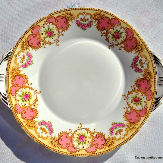 Aynsley Salmon Pink and Yellow Vintage Floral Bone China Cake Plate