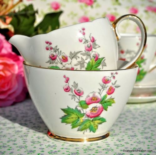 Old Royal Hollyhock Hand Painted Vintage Bone China Milk Jug and Sugar Bowl