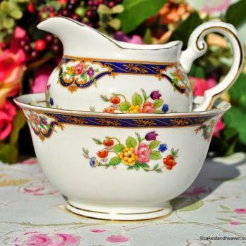 Tuscan Blue Band and Floral Pattern Milk Jug and Sugar Bowl c.1947+