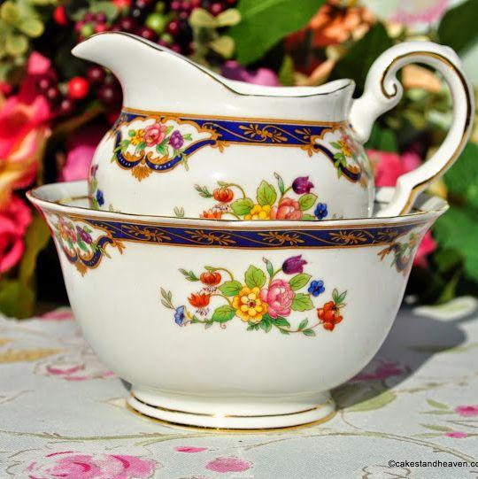 Tuscan Fine Bone China Blue Band and Floral Pattern Milk Jug and Sugar Bowl
