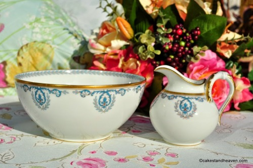 Frank Haviland Limoges Turquoise and Gold Vintage Porcelain Sugar and Cream