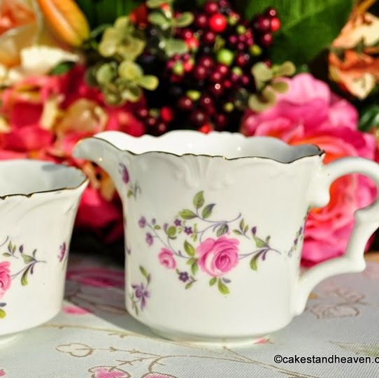 Collingwood Frilly Rim Pretty Pink Roses China Milk Jug and Sugar Bowl c.19