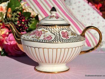 Arthur Wood Pink Mallow Hand Gilded 1.5 Pint Teapot