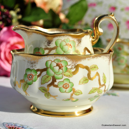 Royal Albert Crown China 9072, Cream, Green, Gold Milk Jug and Sugar Bowl