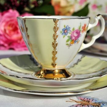 Imperial 22KT Gold Pale Yellow and Floral Vintage Tea Cup Trio