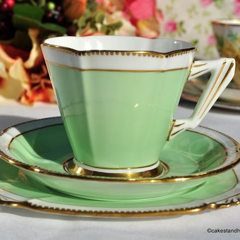 Art Deco Royal Albert Crown China Green Teacup Trio c.1933