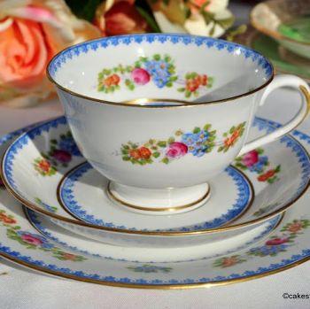 Crown Chelsea Blue Rim Floral Tea Cup Trio c.1928