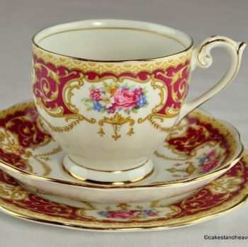 Queen Anne Regency Floral China Teacup Trio c.1950s