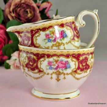 Queen Anne Regency Floral China Milk Jug and Sugar Bowl c.1950s