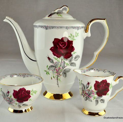 Royal Stafford Roses To Remember Vintage Bone China Coffee Set c.1950s