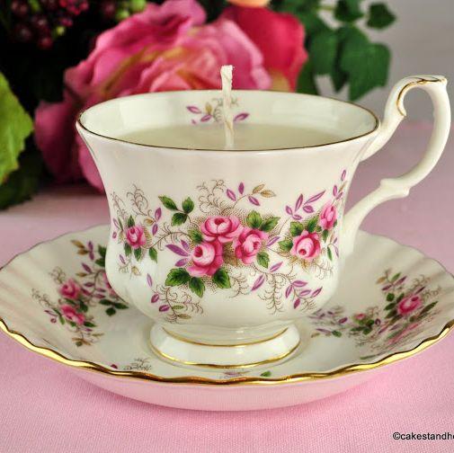 Royal Albert Lavender Rose Vintage Teacup Candle Jasmine Scent