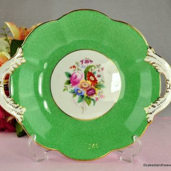 Coalport Hand Painted Vintage Green & Floral Bone China Biscuit Tray
