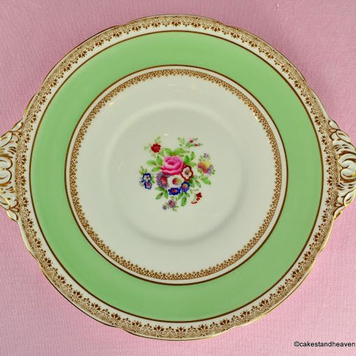 Adderley Ware Green and Floral Best Bone China Cake Plate c.1930s