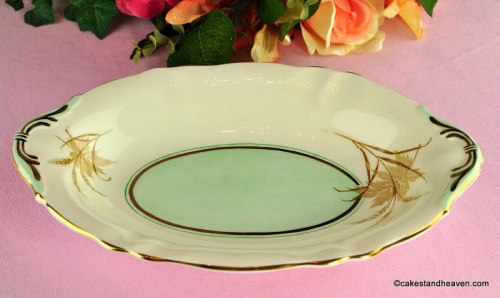 Paragon Cream and Green Vintage Fine Bone China Biscuit Tray c.1950s