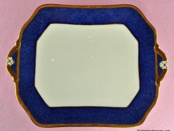 Antique Cauldon Cobalt Blue and Gold Bone China Cake Plate c.1900s
