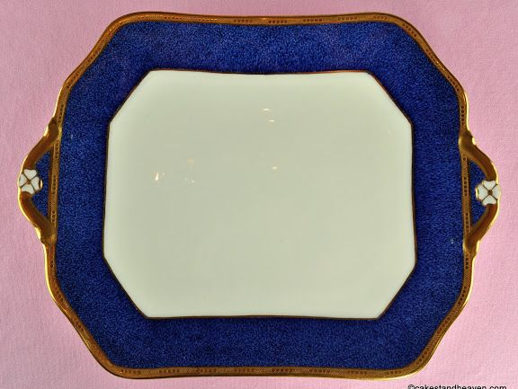 Antique Cauldon Cobalt Blue and Gold Bone China Cake Plate c.1900s