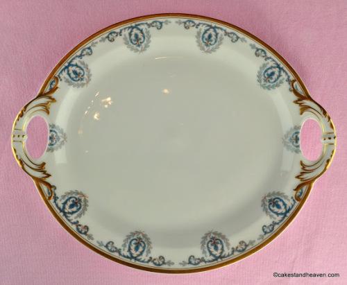 Frank Haviland Limoges Turquoise and Gold Vintage Porcelain Cake Plate c.19