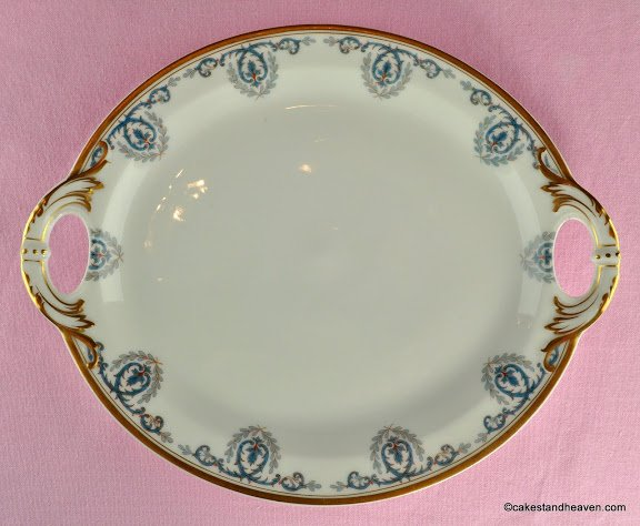 Limoges Turquoise And Gold Cake Plate C 1930s