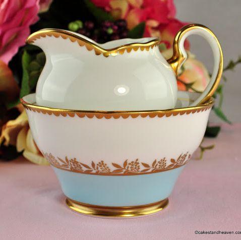 Salisbury Sky Blue & Gold Vintage China Milk Jug & Sugar Bowl