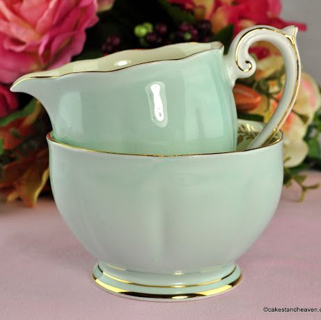 Queen Anne Coronet Duck Egg Vintage China Milk Jug & Sugar Bowl c.1959