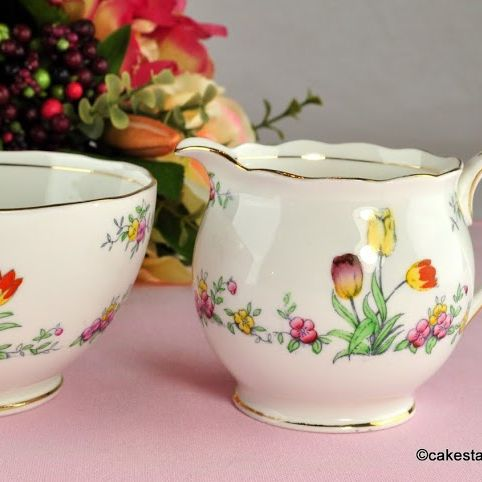 Antique Bell China Hand Painted Tulip Milk Jug & Sugar Bowl c.1911