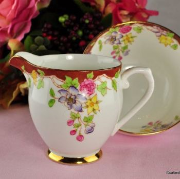 Stanley China Terracotta and Floral Milk & Sugar Set c.1949-53