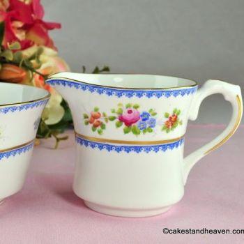 Crown Chelsea Blue Rim Floral Milk Jug & Sugar Bowl c.1928