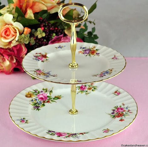 Royal Worcester Roanoke Vintage China 2 Tier Cake Stand