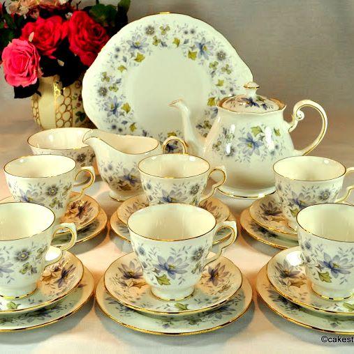 Colclough Rhapsody in Blue Vintage China Complete Tea Set c.1960s