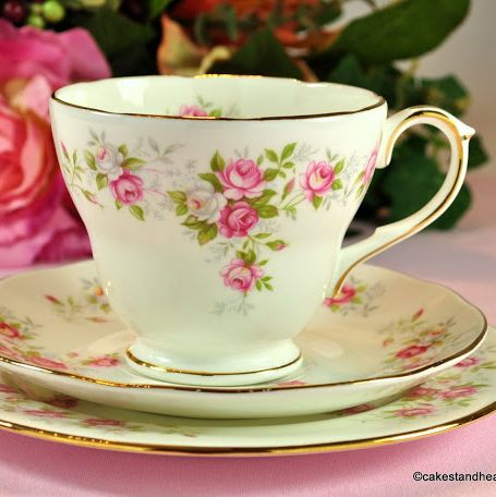 Duchess June Bouquet Vintage Pink Rose Tea Trio
