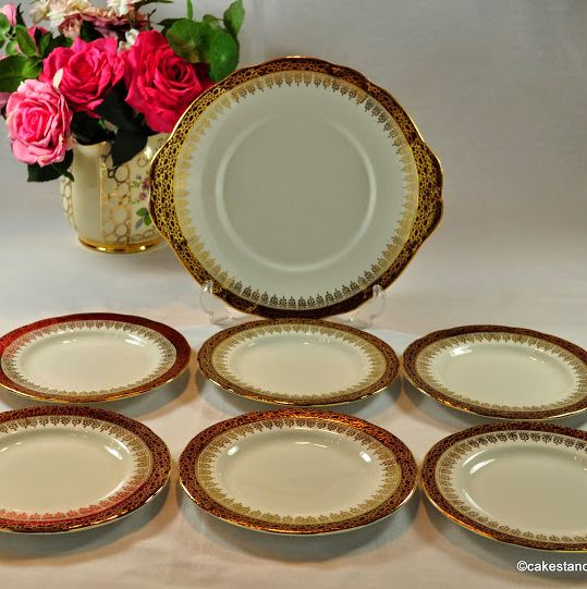 Duchess Winchester Red & Gold Cake Serving Plates Set c.1960s