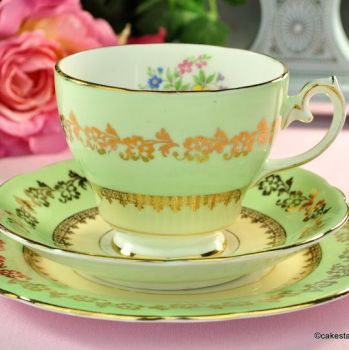 Gladstone Pale Green, Gold and Floral Vintage Teacup Trio c.1946+