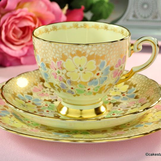 Tuscan Pale Cream and Gold with Pastel Flowers Teacup Trio c.1936+