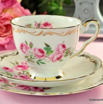 Royal Stafford Hand Painted Pink Roses Vintage Teacup Trio