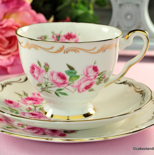 Royal Stafford Hand Painted Pink Roses Vintage Teacup Trio