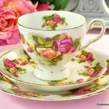 Royal Tuscan Pink and Yellow Roses Vintage Teacup Trio c.1960s