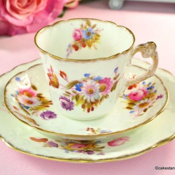 Antique Williamson & Sons Teacup Trio with Hand Painted Flowers c.1895
