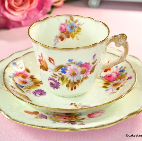 Antique W & Sons Teacup Trio with Hand Painted Flowers