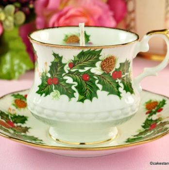 Rosina Queens Yuletide Cranberry Scented Vintage Teacup Candle