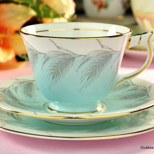 Aynsley Powder Blue Vintage Bone China Tea Cup Trio