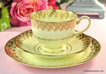 Collingwoods Cream and Gold Lace Vintage Tea Cup Trio