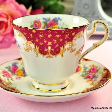 Paragon Rockingham Red Fine Bone China Vintage Tea Cup and Saucer