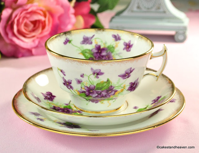 Phoenix China Sweet Violets Vintage Tea Cup, Saucer and Plate Trio