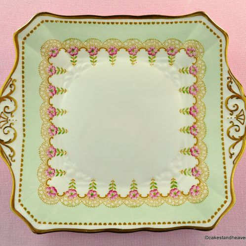Tuscan Art Deco Style Duck Egg, Pink & Gold Cake Plate c.1947+